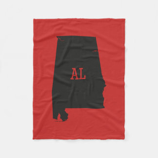 Alabama State Silhouette AL Abbreviation Blankets