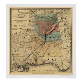 Alabama & Tennessee Railroad Map 1867 Poster