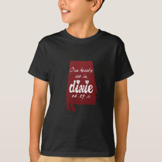 Alabama Tornado Relief - Hearts with Dixie T-Shirt