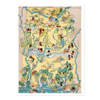 Alabama Vintage Map Postcard