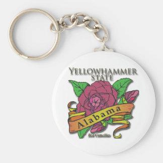 Alabama Yellowhammer State Camellias Basic Round Button Key Ring