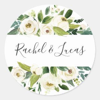 Alabaster | Botanical Floral Wedding Classic Round Sticker