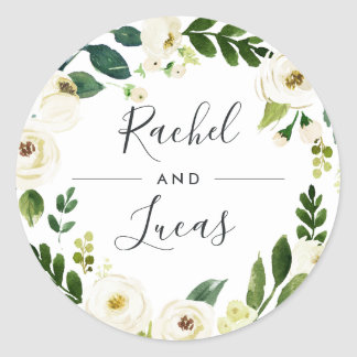 Alabaster | Botanical Wreath Wedding Classic Round Sticker