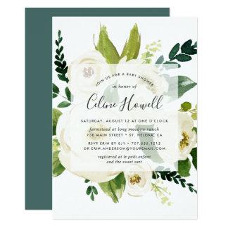 Alabaster Floral Baby Shower Invitation