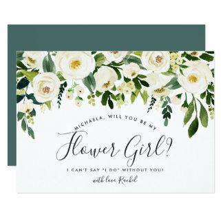 Alabaster Floral Be My Flower Girl Card