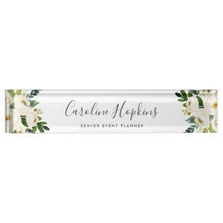 Alabaster Floral Nameplate