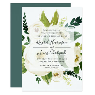 Alabaster Floral Wedding Invitation
