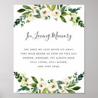 Alabaster Floral Wedding Memorial Sign