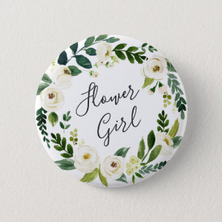 Alabaster Floral Wreath Flower Girl 6 Cm Round Badge