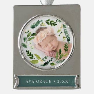 Alabaster Floral Wreath Photo Silver Plated Banner Ornament