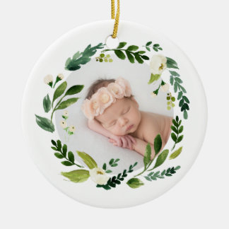 Alabaster Wreath Baby Photo Christmas Ceramic Ornament
