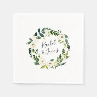 Alabaster Wreath | Botanical Personalized Wedding Paper Serviettes
