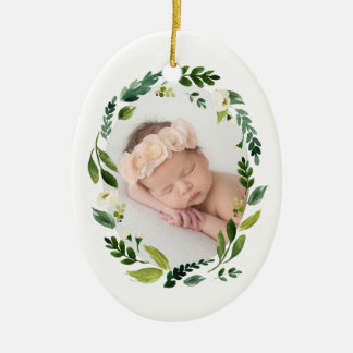 Alabaster Wreath First Christmas Photo Ceramic Ornament