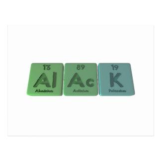 Alack-Al-Ac-K-Aluminium-Actinium-Potassium Post Card