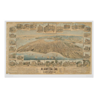 Alameda, CA. Panoramic Map (0540A) Poster