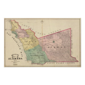 Alameda County map Poster