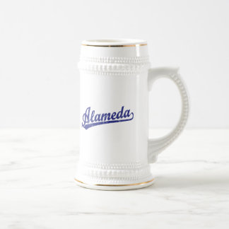 Alameda script logo in blue coffee mug