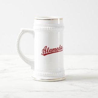 Alameda script logo in red beer steins