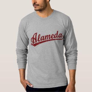Alameda script logo in red T-Shirt