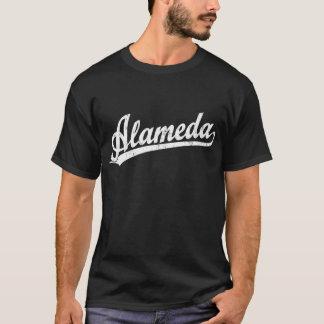 Alameda script logo in white distressed T-Shirt