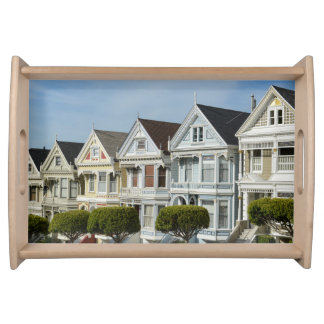 Alamo Square Victorian Houses in San Francisco Serving Tray