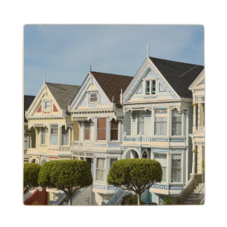 Alamo Square Victorian Houses in San Francisco Wood Coaster
