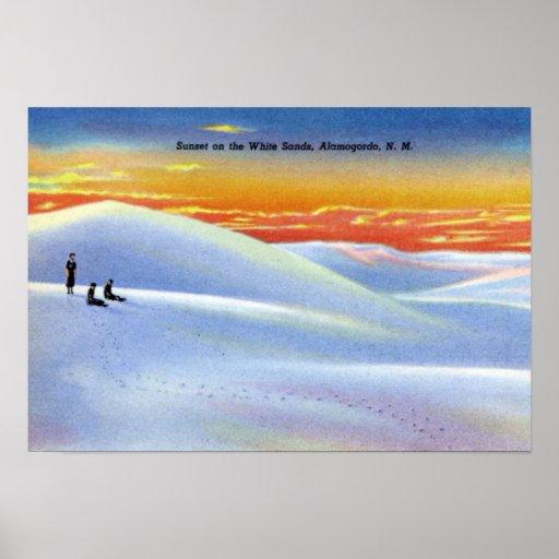 Alamogordo New Mexico Sunset on the White Sands Poster