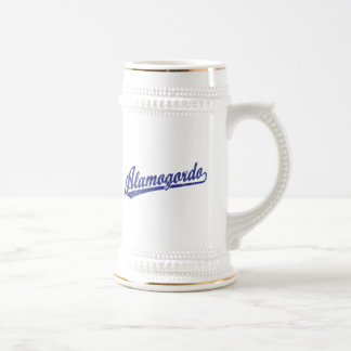 Alamogordo script logo in blue coffee mugs