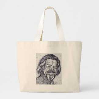 ALAN WATTS - ink portrait Large Tote Bag