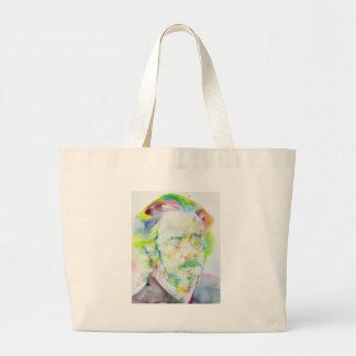 alan watts - watercolor portrait large tote bag