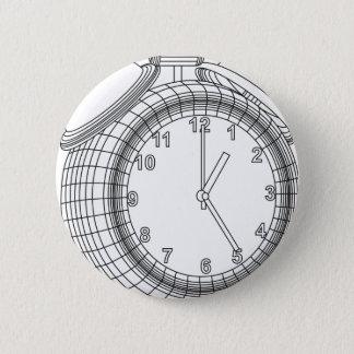 alarm clock 6 cm round badge