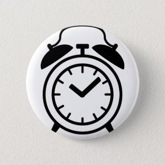 alarm clock icon 6 cm round badge