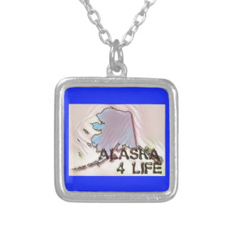 """""""Alaska 4 Life"""" State Map Pride Design Silver Plated Necklace"""