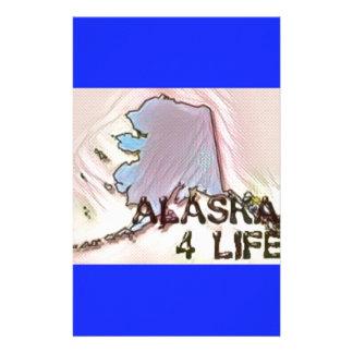 """Alaska 4 Life"" State Map Pride Design Stationery"