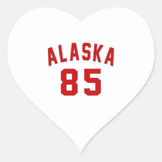 Alaska 85 Birthday Designs Heart Sticker