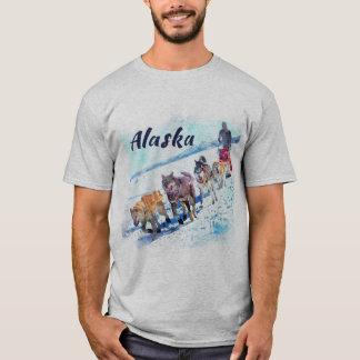 Alaska (AK) A sled dog team Watercolor painting T-Shirt