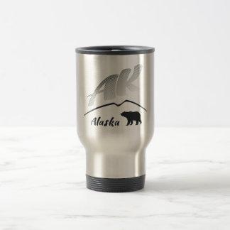 Alaska (AK) Kodiak brown bear - Black Logo Travel Mug