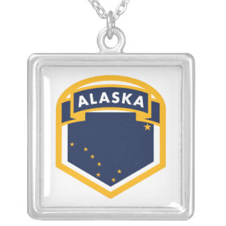 Alaska AK State Flag Shield Silver Plated Necklace