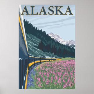 Alaska - Alaska Railroad and Fireweed Poster