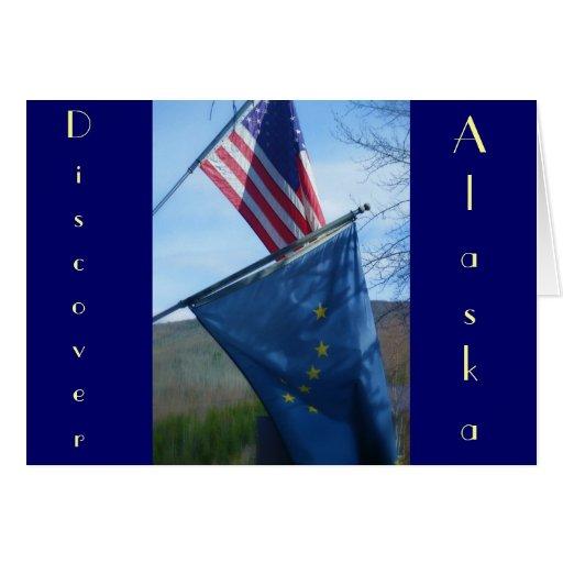 Alaska & American Flag Card