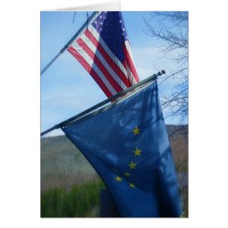 Alaska & American Flag Greeting Card