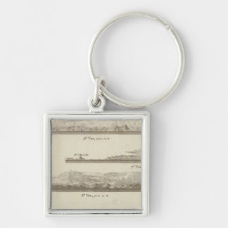 Alaska and British Columbia Silver-Colored Square Key Ring