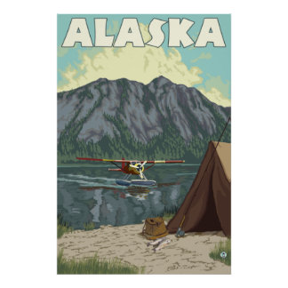 Alaska - Bush Plane and Fishing Poster