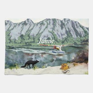 Alaska Bush Plane And Fishing Travel Hand Towel