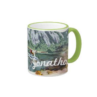 Alaska Bush Plane And Fishing Travel Ringer Mug