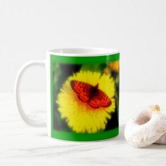 ALASKA BUTTERFLY ON DANDELION AT SUMMER SOLSTICE. COFFEE MUG