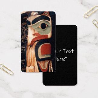 Alaska Carved Wooden Totem Pole Photo Designed Business Card