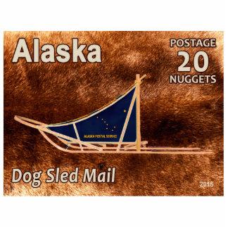 Alaska Dog Sled Mail Postage Stamp Photo Sculpture Magnet