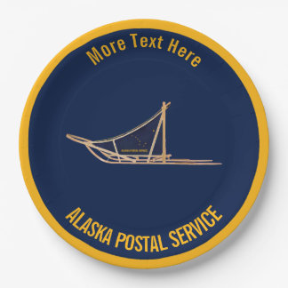 Alaska Dog Sled Postal Carrier Paper Plate
