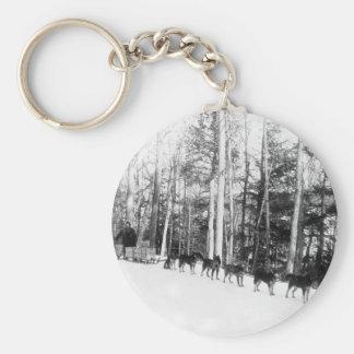 Alaska Dog Sledding Basic Round Button Key Ring